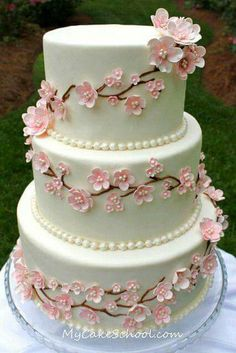 except with maybe blue flowers and grey cake cherry blossom wedding cake Cherry Blossom Cake, Cherry Blossom Wedding, Cherry Blossoms, Cherry Cake, Gorgeous Cakes, Pretty Cakes, Fondant Cakes, Cupcake Cakes, Fondant Bow