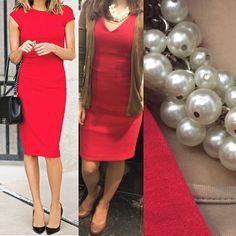 vestido vermelho da Mango, casaco de malha da Massimo Dutti, colar de pérolas da Primark e como não podia falta sapatos de salto alto da Rockport