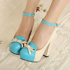 Lovely PU Upper Chunky Heels Closed-toe Women Shoes