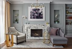 In the living room: sofa, Marie's Corner; carpet, The Rug Company; on the wall photo collage AES + F. Living Room Modern, Home Living Room, Living Room Inspiration, Interior Inspiration, Library Inspiration, Decor Interior Design, Interior Design Living Room, Neoclassical Interior, Pastel Room