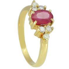 Anel em ouro 18k com diamantes e rubi