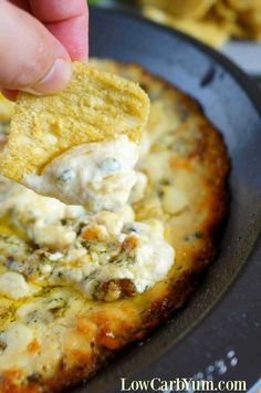 Hot low carb spinach dip with cheese chip