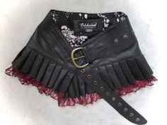 Black  leather steampunk mini skirt wrap around leather steampunk skirt  with lace cherry antique look red