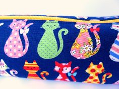 Pencil case Pencil pouch Zipper Cat Indigo Navy blue Yellow Colourful cats Japanese fabric