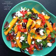 Vanløse blues.....: Ovnbagt butternutsquash og peberfrugt med feta & oliven