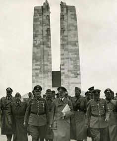Hitler visiting the Canadian War Memorial, at Vimy Ridge, France. 1940. Hitler so respected revered the Canadian soldier after fighting them in WWl that he gave orders not to bomb the Canadian Memorial. Canadians were given a name by the Germans in WWI, Canadians were called Storm Troopers. German soldiers feared the Canadians, gave them a scary name. Hitler reused that name for his own troops in WWll because it put fear into people.