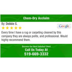 Every time I have a rug or carpeting cleaned by this company they are always polite,...