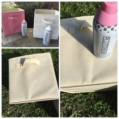 Canvas Sewing Room Bins Makeover with colors Manko (Light Pink) & Polar (True White) #PlutoniumPaint #SprayPaint #MadeInTheUSA #DIY #Crafts #StayOrganized