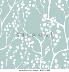 Vector seamless pattern. Floral background. Vertical branches with delicate leaves