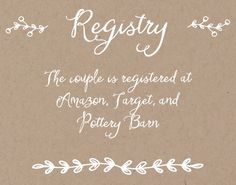 Rustic Country Registry Cards