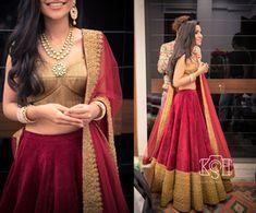 Light Lehengas - Marsala Velvet Leehnga with Gold Silk Blouse | WedMeGood | Marsala Velvet Lehenga with Broad Gold Border, Gold SIlk Blouse and Marsala Net Dupatta, Polki Jewelry #wedmegood #indianbride #indianwedding #marsala #velvet #gold #lehenga #lightlehenga #bridal