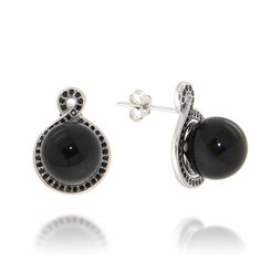 Black onyx and spinel stud earrings set in sterling silver