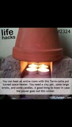 Need a heater? Try this neat life hack! Great idea for camping to warm up a tent. .... of course need careful you don't catch it on fire!