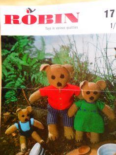 PDF File Vintage Robin Knitting Pattern 1713  - 3 Toy Teddy Bears on Etsy, £1.49
