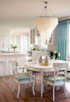 Seashell Chandelier Coastal Dining  Room Decor Ideas Design Furniture Turqoise Curtain Color Paint