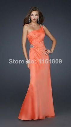 Custom-Made Orange Sexy A-Line One shoulder Floor length Beading Fold Chiffon Backless Prom Dresses Evening Dress Party Dresses