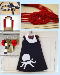 Little Girl's style inspiration board....  Nautical style for little girls - sailor dress, knot headband, nautical tote, handmade shoes, pearl bracelet    follow style-a-kid.blogspot.com for your daily dose of kids' style.