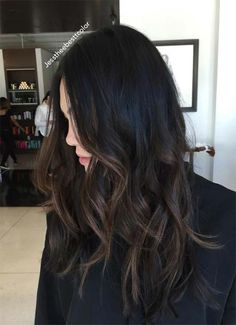 Hair Color Ideas For Brunettes Discover Dark Balayage, Brown Hair Balayage, Black Hair With Lowlights, Balayage Dark Brown Hair, Subtle Balayage Brunette, Partial Balayage, Asian Balayage, Partial Highlights, Hairstyles Haircuts