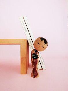 Tilted head kokeshi doll, vintage, from Japan