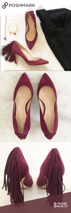"""Loeffler Randall Pari Pump • 3 1/2"""" heel (90mm). • Leather upper, lining and sole • made in Brazil • US size 7.5 • In unworn condition • Kid suede • Burgundy in color • Fringe detail at heel • Slight residue on sole from retail sticker  • Slight mark to Suede on outside right pump reflected in price Photo 1, 2, 3 & 4 - me Loeffler Randall Shoes Heels"""