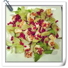 Fried Haloumi Salad with Pomegranate and grapes