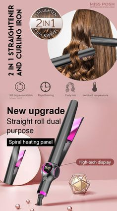 Latest Hair Straighteners & Curling Iron: Hair Straighteners 2-in-1 Curling Iron makes curls easier and quicker with the spiral heating plate. The spiral curved heating plate can effectively protect the health of the hair, and it is not easy to split and tangle. www.Miss-Posh.com