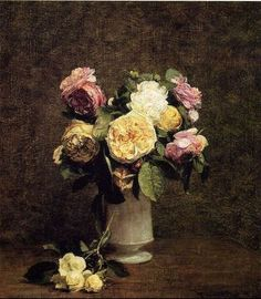 Roses in a White Porcelin Vase by Henri Fantin-Latour - Canvas Art Print Henri Fantin Latour, Art Floral, Painting Still Life, Oil Painting Reproductions, Oeuvre D'art, Canvas Art Prints, Natural, Painting & Drawing, Flower Art