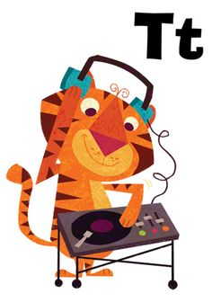 T is for Turntable, illustration by Johnny Yanok Tiger Illustration, Tiger Art, Tiger Tiger, Bengal Tiger, Animal Alphabet, Kids Alphabet, Cute Characters, Illustrations Posters, Vintage Illustrations