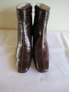 Salvatore Ferragamo Croc Embossed Leather Uppers BROWN Boots