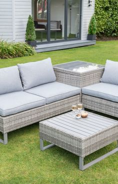 St. Ives Luxury Corner Set.  Enjoy fabulous days and nights in your garden on this corner garden furniture set. Perfect for entertaining guests and relaxing outdoors on your garden patio.  Features premium rattan effect design with a polywood table top and premium woven cushions.  Suitable for indoor and outdoor use and boasts integrated corner storage box.
