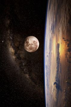 The Milky Way, the Moon, and Earth in one photo - A Tejút, a Hold, és a Föld egy fényképen Cosmos, Stars Night, Stars And Moon, Interstellar, Space Photos, Space And Astronomy, Deep Space, To Infinity And Beyond, Milky Way