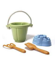 Green Sand Play Set by Green Toys. Includes bucket, rake, shovel and sand castle mold  $13.99