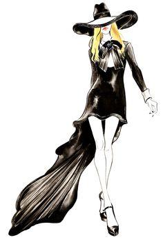 Watercolour Fashion Illustration - Yves Saint Laurent Girl