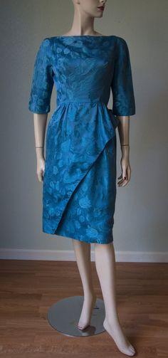 1950s Pat Sandler China Blue Silk Brocade by KittyGirlVintage