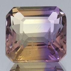Handmade Faceted Gemstone Natural Ametrine Purple Yellow Octagon 5.15 Ct. Handmade Gemstone
