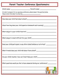 Send home before conferences- Parent Teacher Conference Questionnaire Parent Teacher Communication, Parent Teacher Conferences, Parent Questionnaire, Parent Notes, Parent Night, Education Conferences, Classroom Freebies, School Classroom, Classroom Ideas