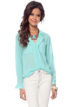 Solid Pocket Blouse in Aqua $38 at www.tobi.com