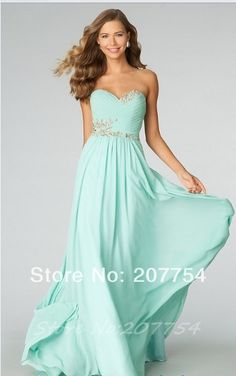 2014 New Arrival Sweetheart Long Mint Prom Dress Sexy Formal Dress For Bridesmaids Elegant Backless Prom Gown US $99.59
