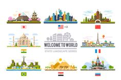 Welcome to world, flat landscape set - Illustrations - 1
