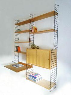 bokhyllan the ladders shelf string regal teak wall unit nisse kaisa strinning 1949 d e. Black Bedroom Furniture Sets. Home Design Ideas