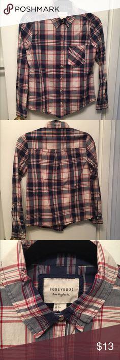 Plaid Button-Down Shirt Plaid, structured, long-sleeved, button-down shirt Forever 21 Tops Button Down Shirts