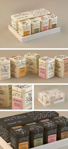This branding is both a clever play on words as well as a sophisticated design. I like how the tea leaves wrap the packaging and the muted colors really accentuate the theme. Coffee Packaging, Pretty Packaging, Brand Packaging, Design Packaging, Product Packaging, Packaging Boxes, Chocolate Packaging, Bottle Packaging, Gift Packaging