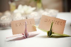 Cute idea for place cards - origami cranes.