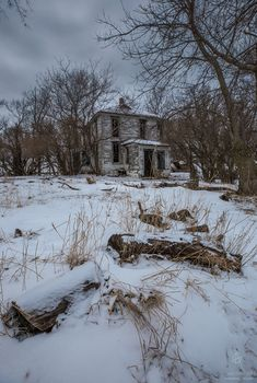 """""""Snow White Abandoned"""" - Somewhere in South Dakota - Abandoned House covered in snow and frozen. Taken at -15F.  www.aaronjgroen.com"""
