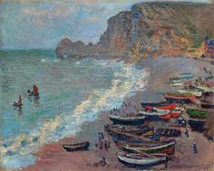 The Beach at Etretat - Claude Monet   Completion Date: 1883