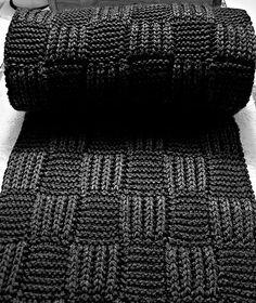 Checkerboard scarf knitting pattern by Phazelia.   The brioche stitch/garter stitch squares create a warm and interesting fabric.