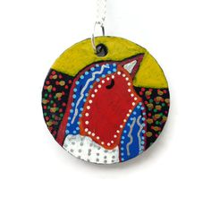 Christmas Necklace, Christmas Jewellery, Gift For Her, Hand Painted Necklace, Robin Bird Pendant Necklace, Stocking Filler,  Christmas Gifts by Larryware on Etsy