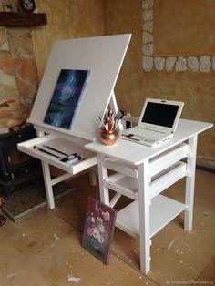 Art Studio Room, Art Studio Design, Art Studio At Home, Home Art, Home Interior, Interior Design, Art Studio Organization, Art Desk, Home And Deco
