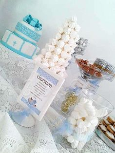 Crystal blue Baptism Party cake and dessert table!  See more party planning ideas at CatchMyParty.com!