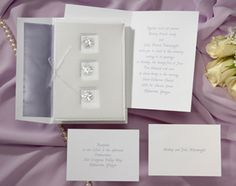 Wedding Invitations bright white jacket and purple flowers by Wedding Invitations -The Office Gal